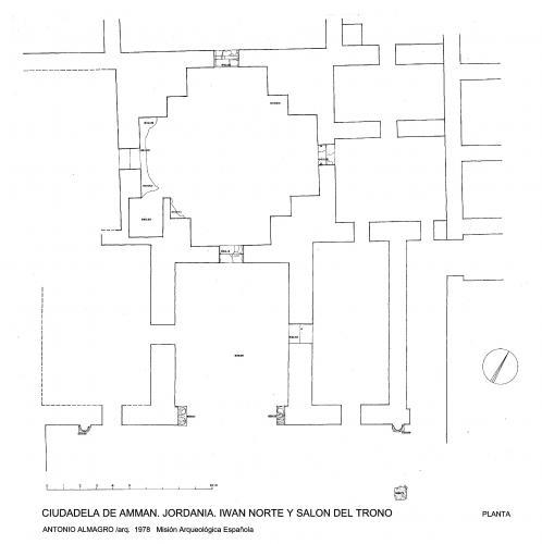 Ciudadela de Amman (Jordania) - Planta iwan Norte y sala trono