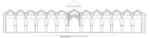 Mezquita aljama (Tremecén, Argelia) - Seccion transversal sala oración