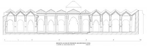 Mezquita aljama (Tremecén, Argelia) - Seccion transversal patio hacia sur