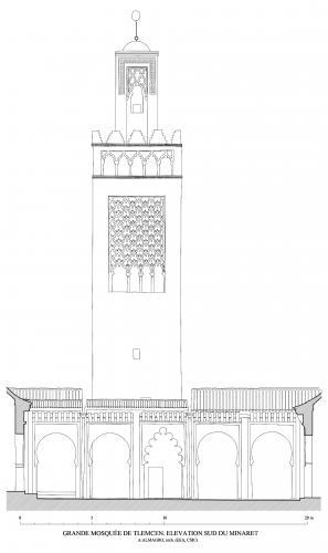 Mezquita aljama (Tremecén, Argelia) - Seccion transversal patio hacia norte