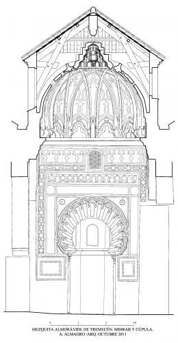 Mezquita aljama (Tremecén, Argelia) - Seccion cúpula y frente mihrab