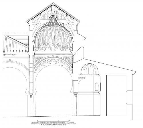 Mezquita aljama (Tremecén, Argelia) - Sección longitudinal cúpula y mihrab