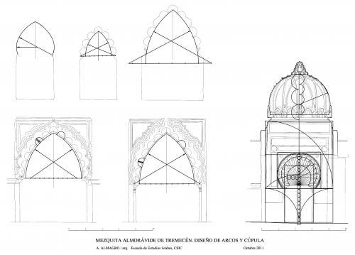 Mezquita aljama (Tremecén, Argelia) - Trazado de arcos y cúpula