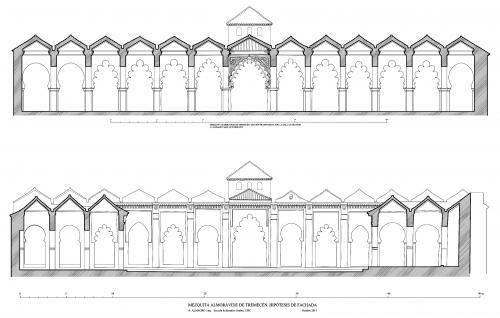 Mezquita aljama (Tremecén, Argelia) - Secciones transversales hipotéticas 1136