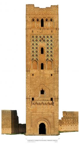 Mezquita de Mansura (Tremecén, Argelia) - Alzado Noroeste alminar con ortoimagen