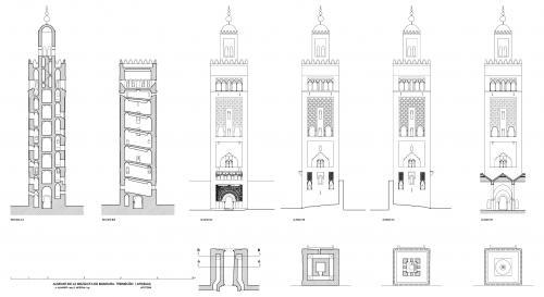 Mezquita de Mansura (Tremecén, Argelia) - Plantas, alzados y secciones hipotéticas alminar