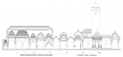 Mezquita Qarawiyyin (Fez, Marruecos) - Seccion Longitudinal