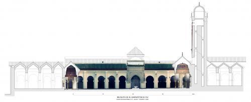 Mezquita Qarawiyyin (Fez, Marruecos) - Sección patio, pabellones y alminar Orto