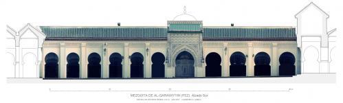 Mezquita Qarawiyyin (Fez, Marruecos) - Alzado al patio con Orto