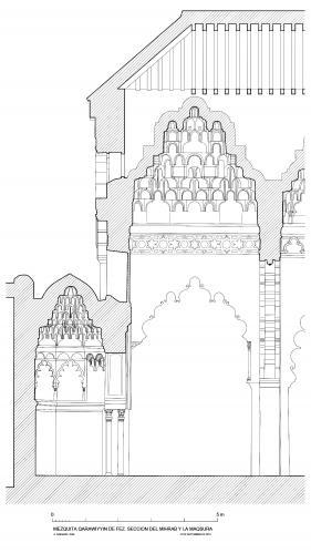 Mezquita Qarawiyyin (Fez, Marruecos) - Seccion Longitudinal mihrab