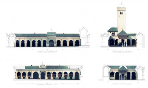 Mezquita Qarawiyyin (Fez, Marruecos) - Alzados patio con Orto