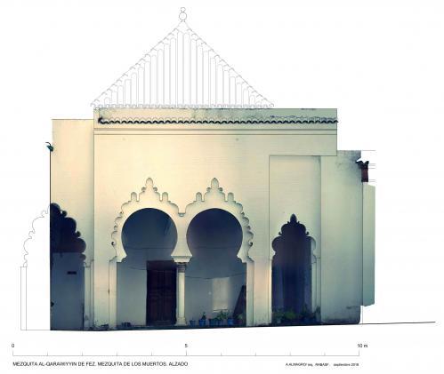 Mezquita Qarawiyyin (Fez, Marruecos) - Mezquita de los muertos. Alzado con orto
