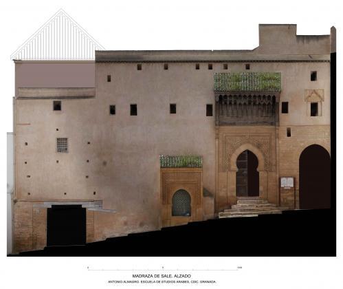 Madrasa meriní (Salé, Marruecos) - Alzado con orto