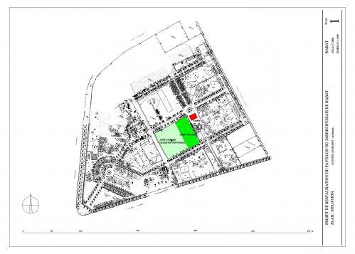 Pabellon del Jardín d'Essais (Rabat, Marruecos) - Plano situación