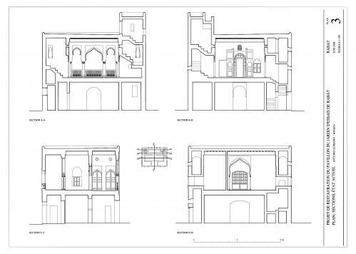 Pabellon del Jardín d'Essais (Rabat, Marruecos) - Secciones estado inicial