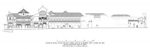 Alcázar de Sevilla - Sección longitudinal palacio D. Pedro y puerta