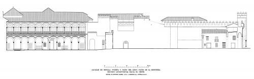 Alcázar de Sevilla - Seccion longitudinal patio Montería y puerta
