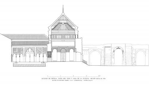 Alcázar de Sevilla - Sección hacia sur patio del Yeso y sala Justicia