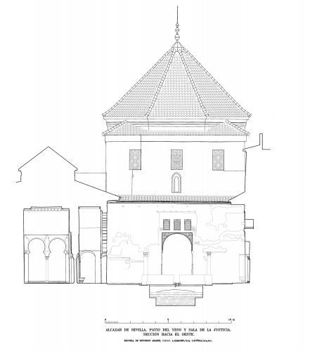 Alcázar de Sevilla - Sección hacia oeste patio del Yeso y sala Justicia