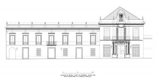 Alcázar de Sevilla - Alzado sur patio de Banderas