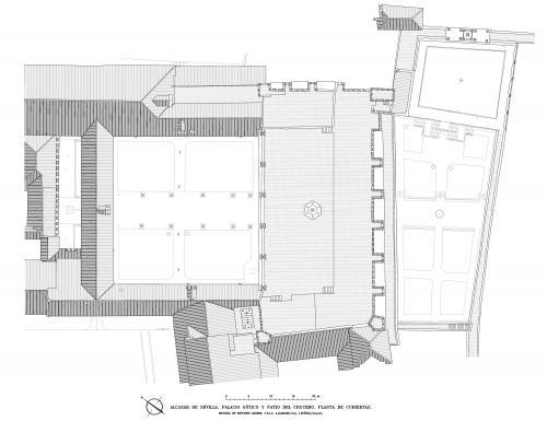 Alcázar de Sevilla - Planta cubiertas patio Crucero y palacio Gótico