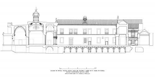 Alcázar de Sevilla - Sección longitudinal patio del Crucero