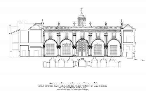 Alcázar de Sevilla - Sección hacia sur patio del Crucero