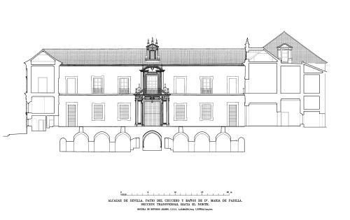 Alcázar de Sevilla - Sección hacia norte patio del Crucero