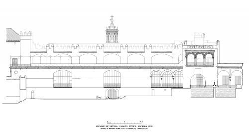 Alcázar de Sevilla - Fachada sur palacio Gótico