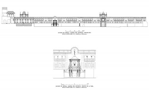 Alcázar de Sevilla - Alzado Galería del Grutesco y Fuente de la Fama