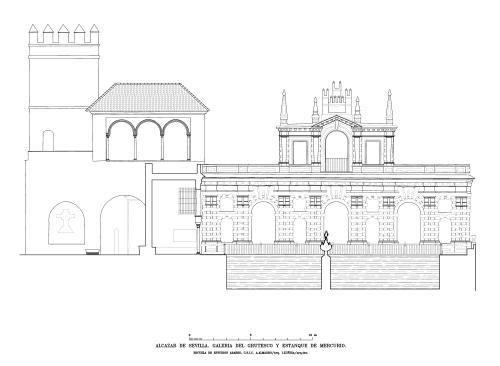 Alcázar de Sevilla - Alzado Galería Grutesco y Estanque Mercurio