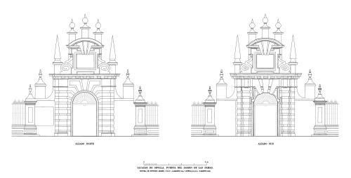 Alcázar de Sevilla - Alzado puerta Jardín de las Damas