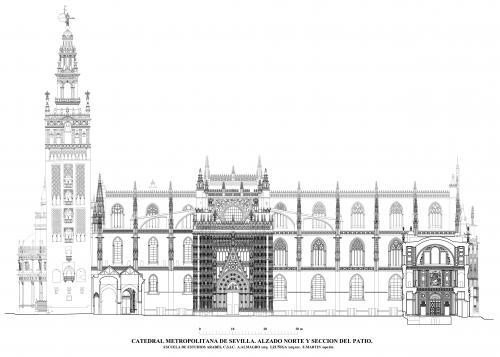 Catedral de Sevilla - Alzado norte y sección del patio