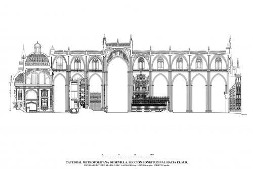 Catedral de Sevilla - Sección longitudinal hacia el sur