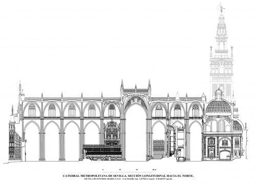 Catedral de Sevilla - Sección longitudinal hacia el norte