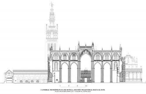 Catedral de Sevilla - Sección transversal hacia el este