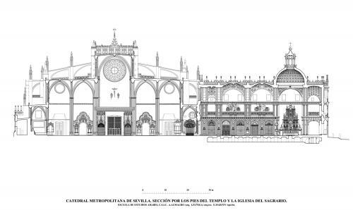 Catedral de Sevilla - Sección por los pies del templo y Sagrario