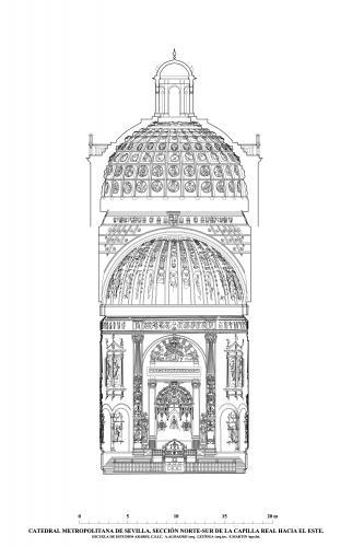 Catedral de Sevilla - Sección norte-sur Capilla Real hacia el este