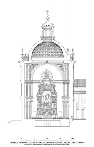 Catedral de Sevilla - Sección este-oeste de la iglesia del Sagrario