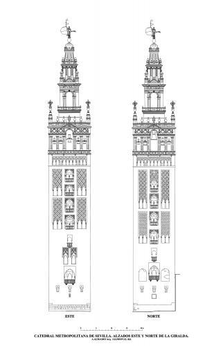 Catedral de Sevilla - Alzados este y norte de la Giralda