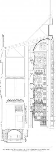 Catedral de Sevilla - Sección retablo mayor hacia sur