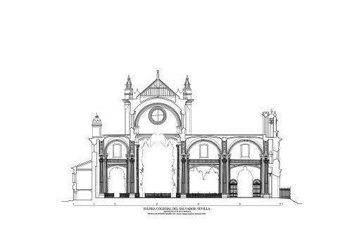 Colegiata del Salvador (Sevilla) - Sección longitudinal por la nave de la epístola