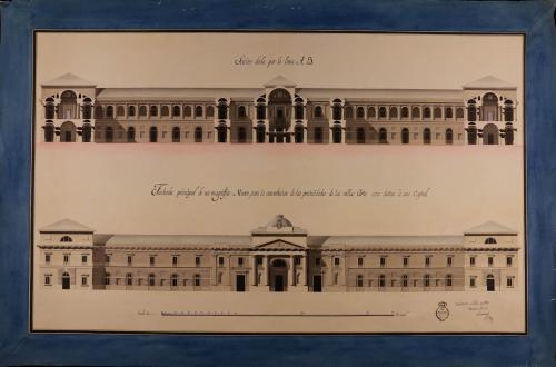Alzado fachada principal y sección AB de un museo para la conservación de las bellas artes, con destino a una capital