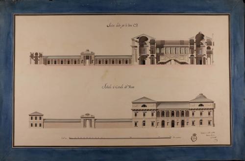Alzado fachada lateral y sección CD de un museo para la conservación de las bellas artes, con destino a una capital