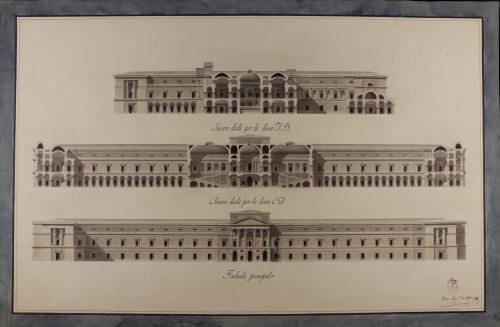 Alzado de la fachada principal y secciones AB y CD de un museo de nobles artes