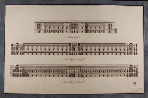 Alzado de la fachada lateral y las secciones EF y GH de un museo de nobles artes