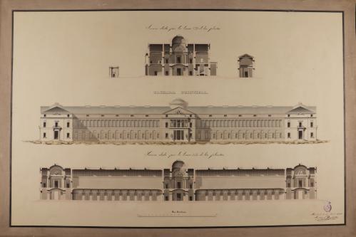 Alzado de la fachada principal y las secciones AB y CD