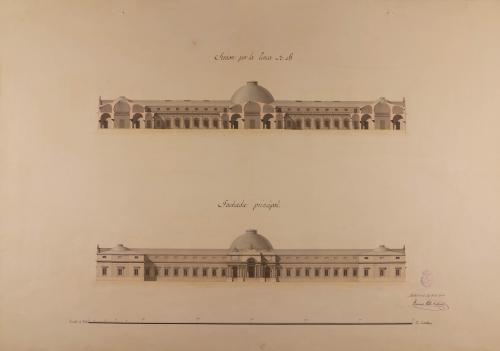 Alzado de la fachada principal y sección AB de un museo para tres nobles artes