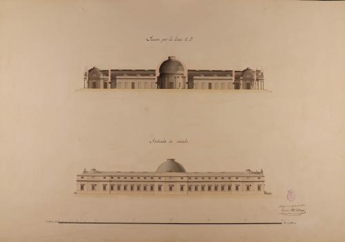 Alzado de la fachada lateral y sección CD de un museo para las tres nobles artes