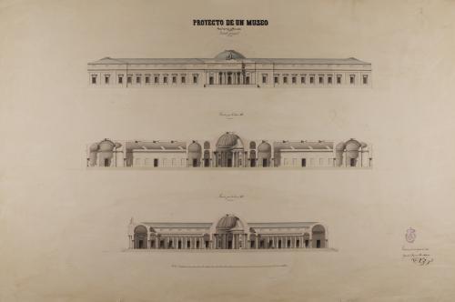 Alzado de la fachada principal y las secciones AB y CD de un museo de tres nobles artes